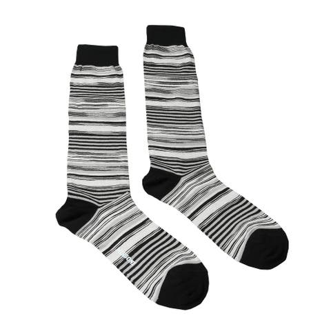 Missoni GM00CMU4658 0003 White/Black Striped Knee Length Socks