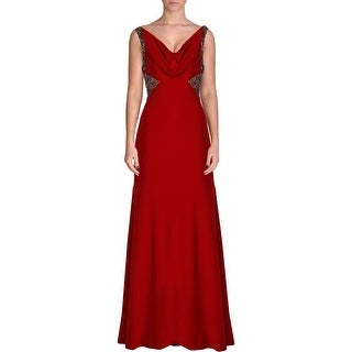 Carmen Marc Valvo Womens Embellished Sleeveless Semi-Formal Dress