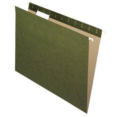 School Smart Hanging File Folder, Letter, Standard Green, 1/5 Cut Tabs, Pack of 25