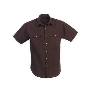 Gioberti Little Boys Brown Solid Color Short Sleeve Western Shirt 4-7