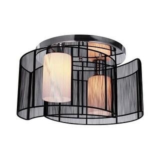Contemporary 16-inch 2-Light Black Drum Flush Mount Light
