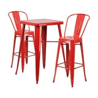 Offex Red Metal Indoor-Outdoor Bar Table Set With 2 Barstools