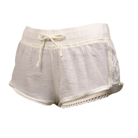 Roxy Women's Soft Crochet Sheer Swim Short - ivory