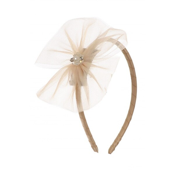 Kids Dream Girls Champagne Tulle Pearls Bow Headband