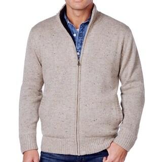 Weatherproof NEW Beige Mens Large L Faux Sherpa Lined Sweater Jacket