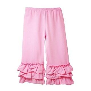 Girls Pink Triple Tier Ruffle Cuffed Cotton Spandex Pants 12M-6