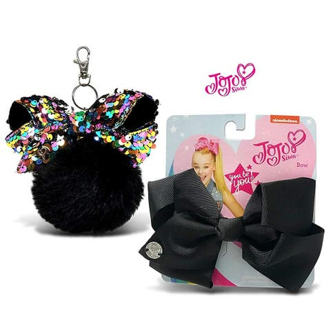 JoJo Siwa Black Fur Ball with Mini Sequin Bow and Black Basic Bow on Metal Salon Clip 2 Items