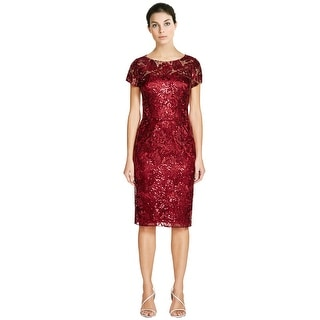David Meister Garnet Sequin Lace Short Sleeve Cocktail Evening Dress