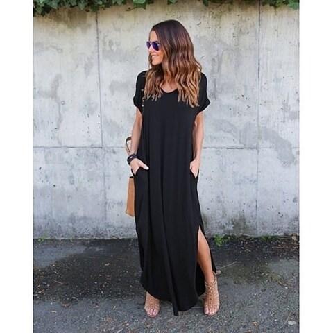 Loose Casual V Neck Split Baggy Long Maxi Dress