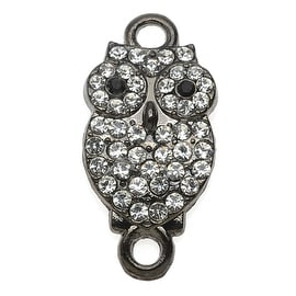 Crystal Encrusted 2-Ring Connector, Owl Design, 10.5x21mm, 1 Piece, Gun Metal Plated