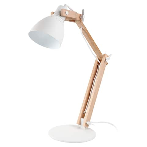 Natural Wooden Swing Arm LED Desk Lamp, 4-Level Dimmer