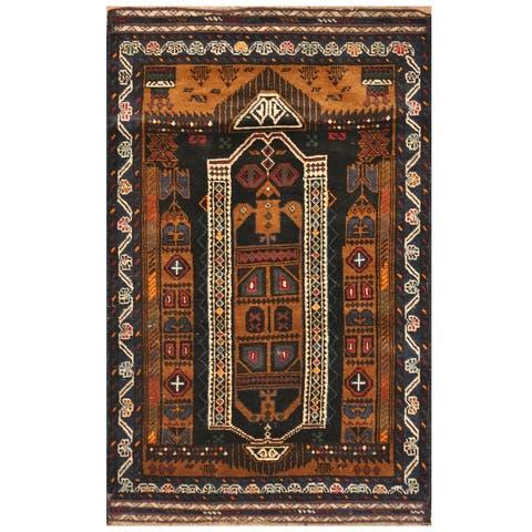 Handmade One-of-a-Kind Tribal Balouchi Wool Rug (Afghanistan) - 3' x 4'7