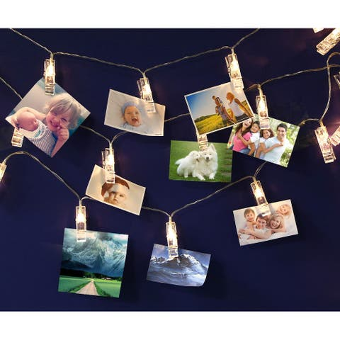 16.4ft 20 LEDs Card Photo Clip String Lights, USB Powered - 1 Pack