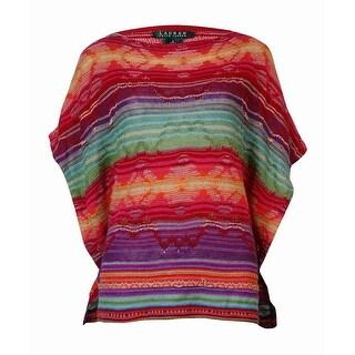 Lauren Ralph Lauren Women's Striped Woven Poncho Sweater (S, Multi) - s
