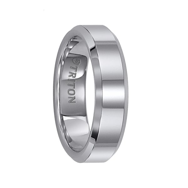 GARTH Tungsten Carbide Ring with Reflective Polished Finish and Beveled Edges by Triton Rings - 6 mm