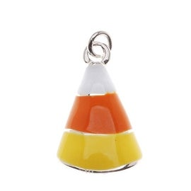 Silver Plated With Yellow Orange White Enamel Halloween Candy Corn Charm (1)