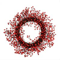 "22"" Festive Red Berries Artificial Christmas Wreath - Unlit"