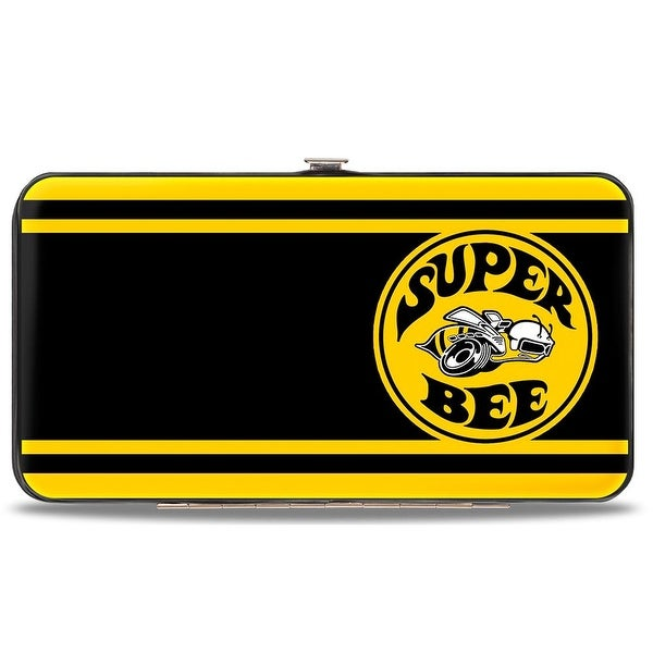 Super Bee Logo Stripes Black Yellow Hinged Wallet - One Size Fits most
