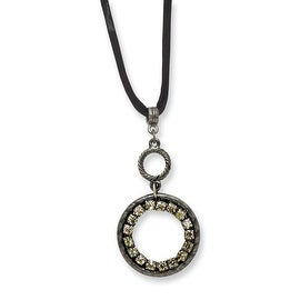 Black IP Black Crystal Circle on Satin Cord Necklace - 16in