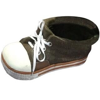 Alpine QFC156BR Sneaker Planter, Brown, Polyresin