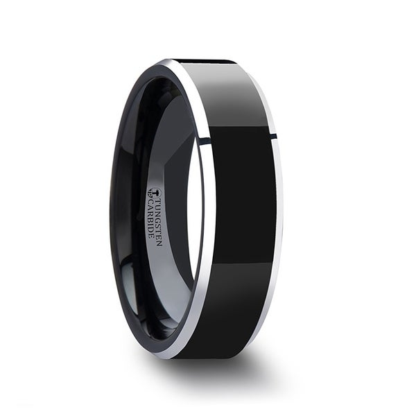 THORSTEN - MACLAREN Black Polish Finished Center Tungsten Carbide Ring with Metallic Beveled Edges - 6mm