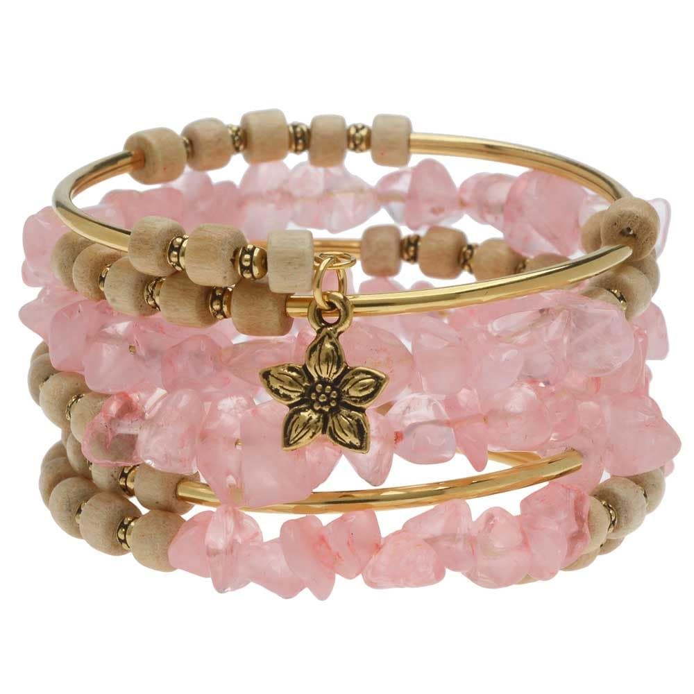 Pink Beaded Flex Coil Four Wrap Memory Wire Handmade Bracelet in Shades of Pink