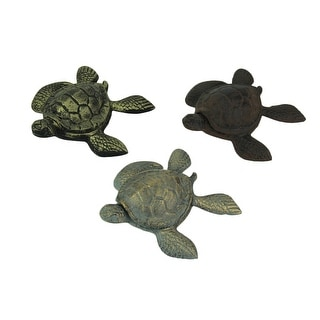 Set of 3 Cast Iron Brown Blue Brass Turtle Trinket Boxes - 1.5 X 4.75 X 4.5 inches