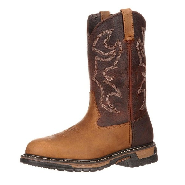 "Rocky Western Boots Mens 10"" Original Ride Branson Tan"