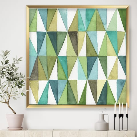 Designart 'geometric Green Triangle III' Mid-Century Modern Transitional Framed Art Print