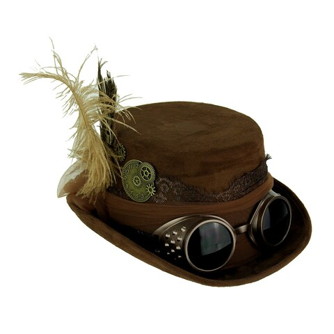 Brown Victorian Ladies Steampunk Top Hat with Feathers and Tulle Bow