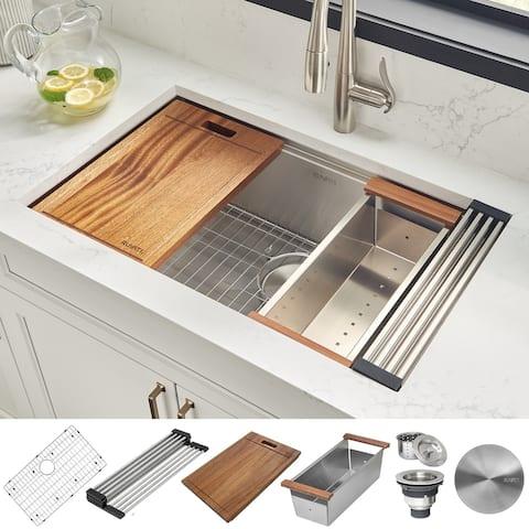 Ruvati 28-inch Workstation Ledge Undermount 16 Gauge Stainless Steel Kitchen Sink Single Bowl - RVH8309 - 26-1/2? x 16?