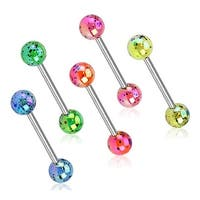Aurora Borealis Coating Over Splash Acrylic Balls Surgical Steel Barbell (Sold Individually)