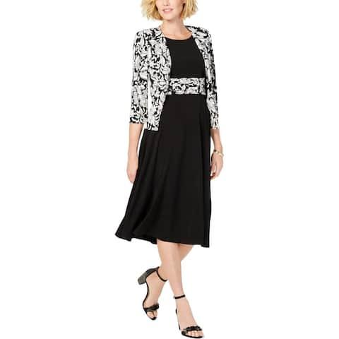 Jessica Howard Womens Dress Suit Baroque 3/4 Sleeve - Black/Ivory - 10