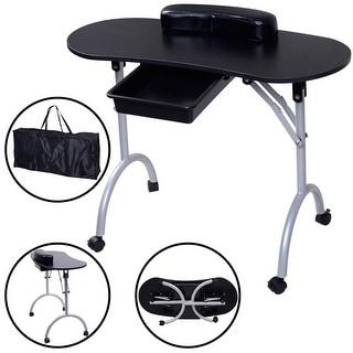 Costway Portable Manicure Nail Table Station Desk Spa Beauty Salon Equipment Black