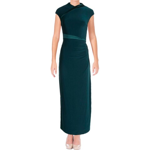 Lauren Ralph Lauren Womens Petites Lita Evening Dress Satin Trim Jersey