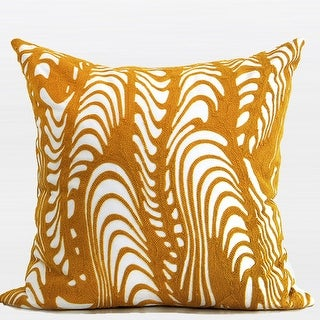 "G Home Collection Luxury Yellow Warp Chevron Embroidered Pillow 20""X20"""