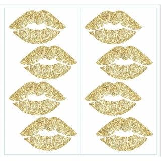 York Wallcoverings RMK3531SCS RoomMates 8 Piece Lip Repositionable Peel and Stick Wall Decals - GOLD