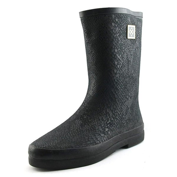 Dav Austin Mid Snake Women Round Toe Synthetic Black Rain Boot