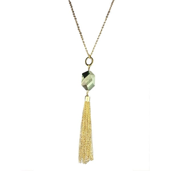 max & MO Emerald Gold Glass Stone with Tassel Necklace