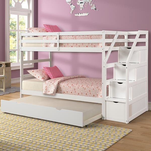Merax Twin Over Twin Stair Bunk Bed With Storage Ladder And Trundle On Sale Overstock 30538386 White