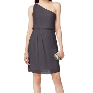 Adrianna Papell NEW Gray Women's Size 4 One Shoulder Chiffon Dress