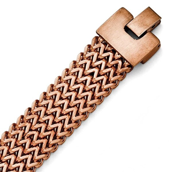 Chisel Stainless Steel Brushed Rose IP-plated Woven Bracelet
