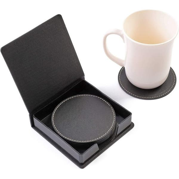 6pcs Black Pu Leather 3 6 Round Drink Coasters Coffee Cup Mat Pad With Holder Overstock 31681601