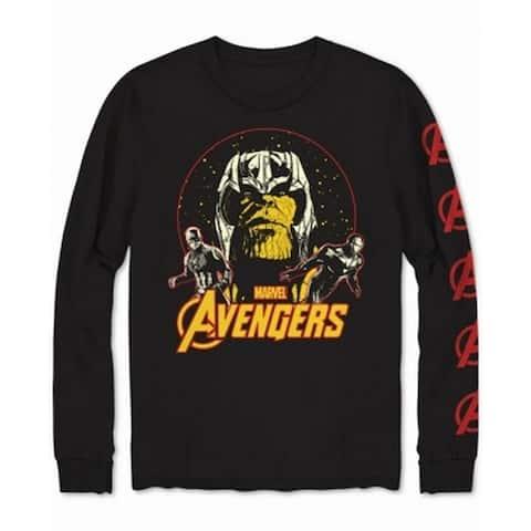 Marvel Mens T-Shirt Black Size Medium M Thanos Avengers LS Graphic Tee
