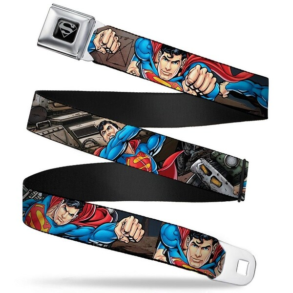 Superman Black Silver Superman Action Metropolis Face Off Webbing Seatbelt Seatbelt Belt