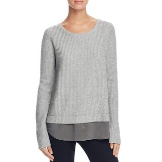 Joie Womens Pullover Sweater Wool Contrast Trim