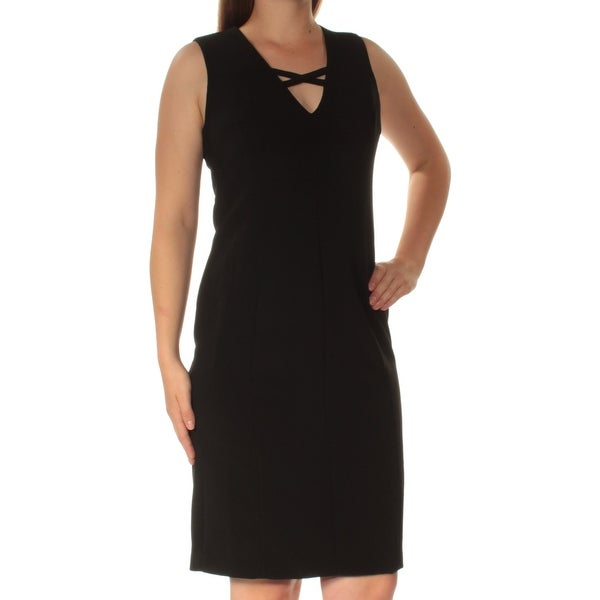 Shop Womens Black Sleeveless Knee Length Shift Evening Dress Size