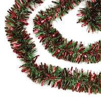 50' Festive Red and Green Thick Cut Christmas Tinsel Garland - Unlit - 6 Ply