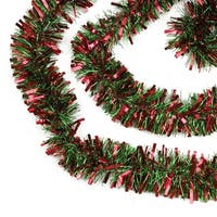 50' Red and Green Wide Cut Christmas Tinsel Garland - Unlit
