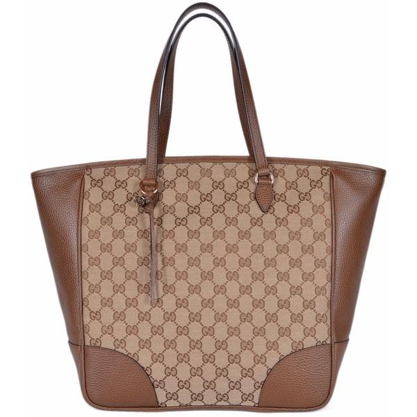 93a1b11a84ef Gucci Women's 449242 Beige Brown Large Bree GG Guccissima Purse  Handbag Tote